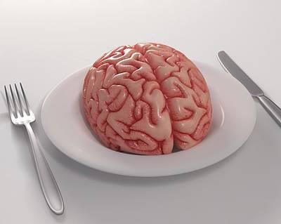 Human Brain On Dinner Plate Art Print by Ktsdesign
