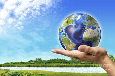 Three Rivers Digital Art - Human Hand Holding Earth Globe by Leonello Calvetti