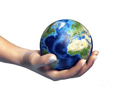 Responsibility Digital Art - Human Hand Holding Planet Earth by Leonello Calvetti