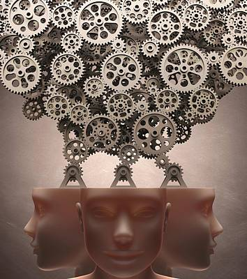 Human Heads With Cogs Print by Ktsdesign