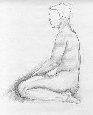Hand Crafted Drawing - Human Sitting Figure by Peut Etre