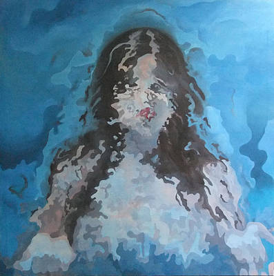 Abstract Painting - Human Transformation In Aqua Space by Roncea Eliza