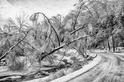 Ice Photograph - Humber River Road - Paint Bw by Steve Harrington