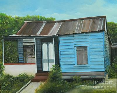 Jamaican Painting - House Portrait   Humble Living by Kenneth Harris