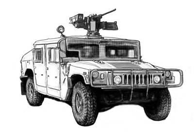 Hummer Us Army Car Drawing Art Poster Art Print