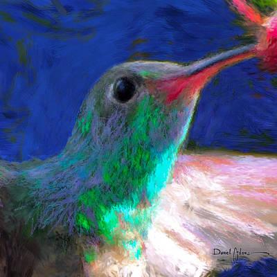 Painting - Da197 Hummerbird Closeup By Daniel Adams by Daniel Adams
