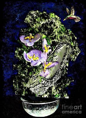 Digital Art - Humming Bird And Purple Flowers by Sarah Loft