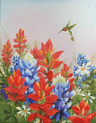 Humming Bird In Wildflowers Art Print by Jimmie Bartlett
