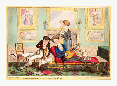 Humming Birds Or A Dandy Trio, Cruikshank, George Art Print