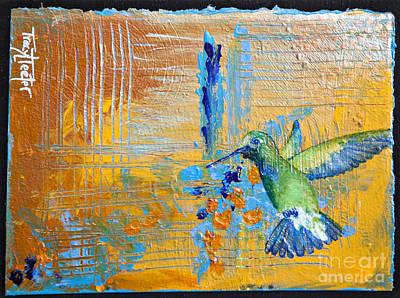 Abstract Hummingbird Painting - Hummingbird Abstract by Tracy L Teeter