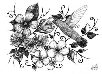 Hummingbird Drawing - Hummingbird And Floral Sketch by Alina Davis
