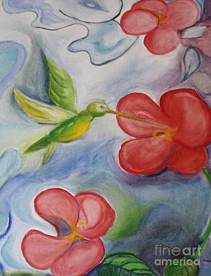 Hummingbird And Hibiscus Art Print by Teresa Hutto