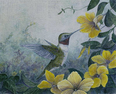 Painting - Hummingbird And Mandevillas by Sandy Clift