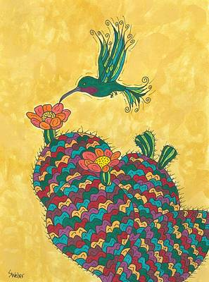 Art Print featuring the painting Hummingbird And Prickly Pear by Susie Weber