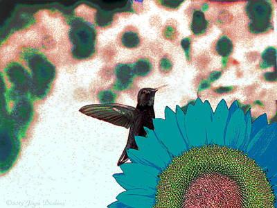 Friendly Digital Art - Hummingbird And Sunflower by Joyce Dickens
