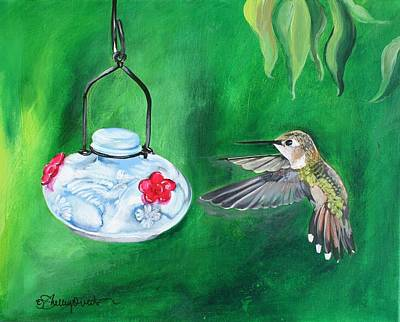 Painting - Hummingbird And The Feeder by Shelley Overton