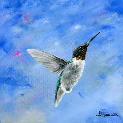 Brianna Painting - Hummingbird Blues by Brianna Mulvale