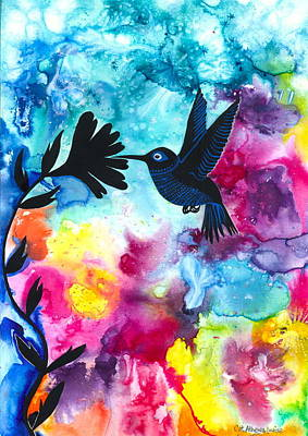 Inner World Painting - Hummingbird by Cat Athena Louise