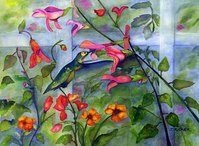 Painting - Hummingbird Dance by Jane Ricker