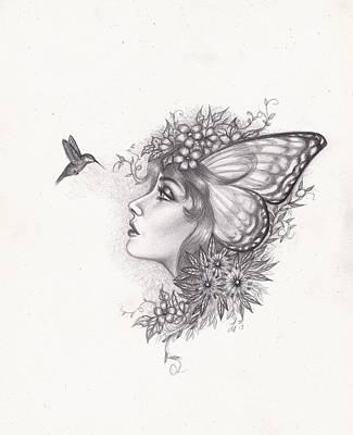 Faeries Drawing - Hummingbird Faerie by Leon Atkinson