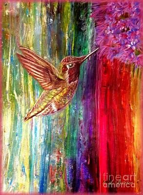 Painting - Hummingbird Fiesta by Kimberlee Baxter