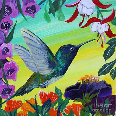 Painting - Hummingbird Gathering Nectar by Robin Maria Pedrero