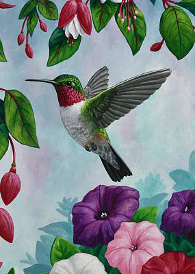 Pink Flower Painting - Hummingbird Greeting Card 1 by Crista Forest