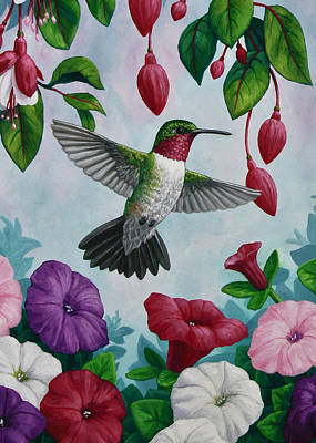 Pink Flower Painting - Hummingbird Greeting Card 2 by Crista Forest