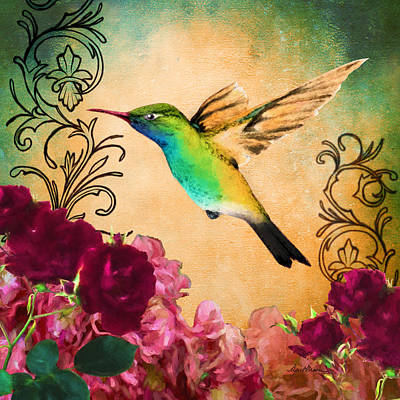 Scroll Digital Art - Hummingbird I by April Moen