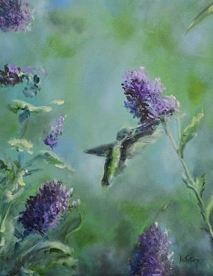 Hummingbird Painting - Hummingbird In Flight by Donna Tuten