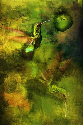 Photograph - Hummingbird In Flight Green by Bob Coates