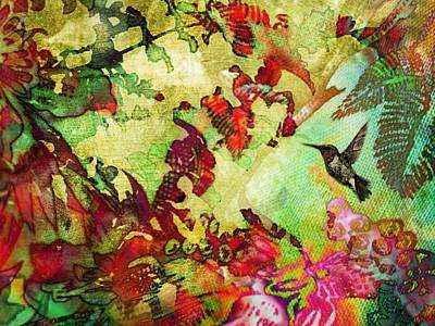 Painting - Hummingbird In Flower Heaven - Horizontal by Lyn Voytershark