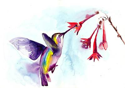 Hummingbird In Red Flowers Watercolor Art Print by Tiberiu Soos