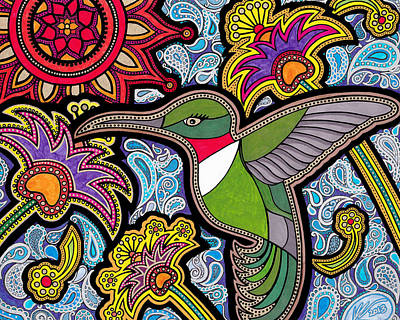 Silver Turquoise Drawing - Hummingbird by Keri-Ann Schultz