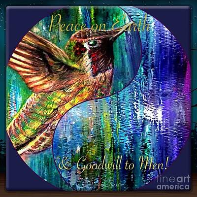 Painting - Hummingbird Mascot For Peace And Goodwill To Men by Kimberlee Baxter