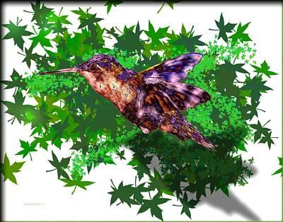 Lilac Digital Art - Hummingbird Over Green by Mario Perez