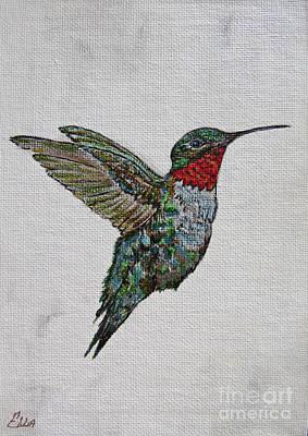 Owls - Hummingbird Painting - Flying Solo by Ella Kaye Dickey