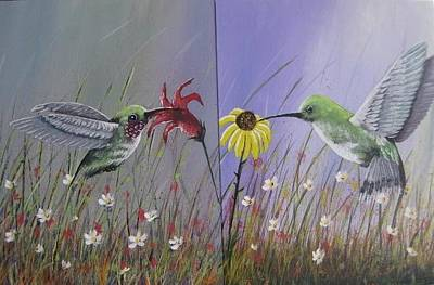 Painting - Hummingbird Pair by Lorraine Bradford