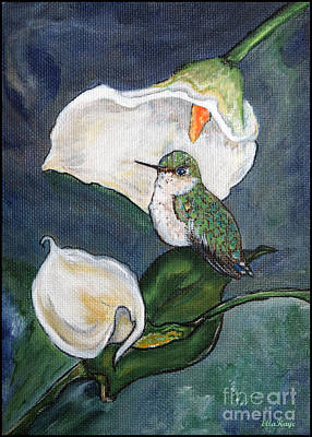 Hummingbird Umbrella Garden - Art Painting Print Art Print by Ella Kaye Dickey