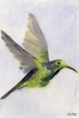 In Flight Painting - Hummingbird Watercolor Bird Painting by Beverly Brown Prints