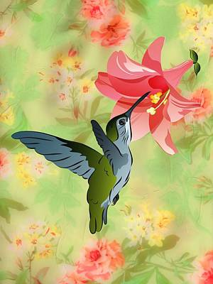 Digital Art - Hummingbird With Pink Lily Against Floral Fabric by MM Anderson