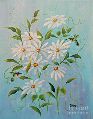 Painting - Hummingbirds And Daisies by Jimmie Bartlett