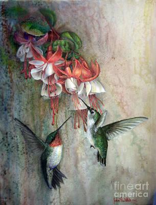 Hummingbirds And Fuschias Original by John F Willis