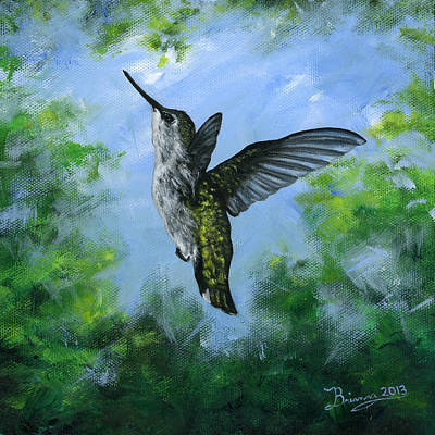 Brianna Painting - Hummingbird's Forest by Brianna Mulvale