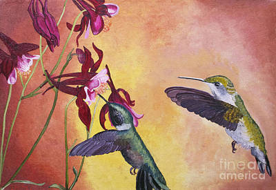 Painting - Hummingbirds In Flight by Cecilia Stevens