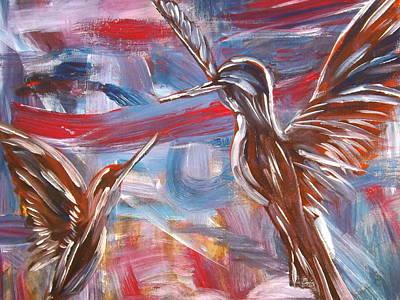 Painting - Hummingbirds by Katharina May