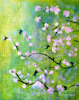 Cherry Blossoms Painting - Hummingbirds by Linda Waidelich