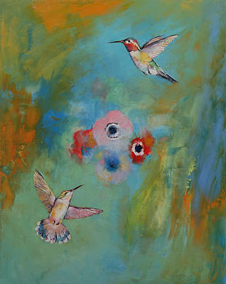 Oil Pastel Abstract Painting - Hummingbirds by Michael Creese