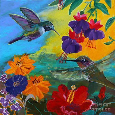 Hummingbirds Prayer Warriors Art Print by Robin Maria Pedrero