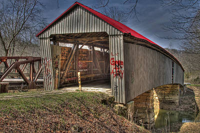 Music Royalty-Free and Rights-Managed Images - Artistic Humpback Covered Bridge by Jack R Perry